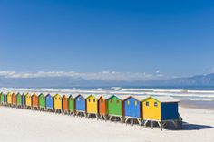 Muizenberg in Cape Town, South Africa South Africa Honeymoon, Cape Town South Africa, Time For Africa, South Afrika, Colourful Buildings, Us Beaches, Wanderlust Travel, Oh The Places You'll Go, Travel Around The World