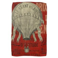 Steampunk Hot Air Ballon Ride Graphic Fonts in Red Hand Towel - fathers day best dad diy gift idea cyo personalize father family
