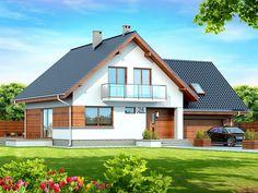 DOM.PL™ - Projekt domu DN NOELIA BIS 2M (garaż dwustanowiskowy) CE - DOM PC1-50 - gotowy koszt budowy Prefabricated Houses, Village Houses, Dream House Plans, Facade House, Design Case, Malaga, Home Fashion, Home Interior Design, Shed