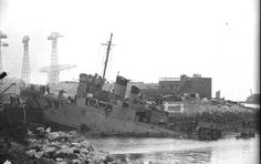 HMS Campbelltown resting in the dock shortly before she explodes during the abortive Dieppe Raid 1942