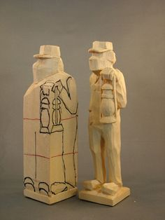 IN PROGRESS carving a railroader. ~ www.woodbeecarver.com