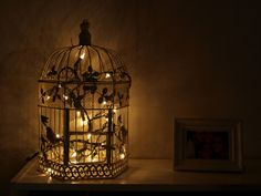 Night light idea - (I have a white lantern with Christmas lights inside, for a night light..)