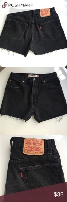 Levi's Black Cut Off Shorts Vintage Custom pair of Levi's cut offs I made! Great dark black color and softer than other pairs I've made. These are vintage so they have zero stretch. 11 inch high rise. About 15 inches across, so these will fit 29/30. Please, no modeling! All offers considered - get these for summer!!! Levi's Shorts Jean Shorts