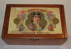 Vintage Wooden Goldsmith Bros Havana Cuba Cigar Box by JanesJello