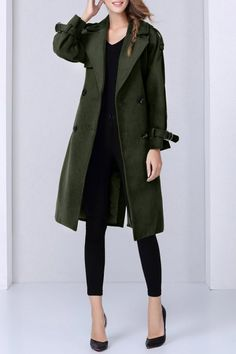 Army Green Woolen Lapel Trench Coat