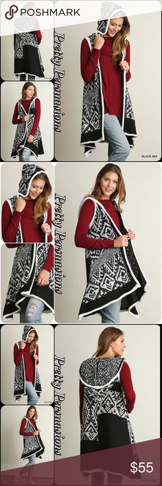 "Black & White Tribal Hooded Sweater Cardigan Vest NWT Black & White Tribal Hooded Sweater Long Cardigan Vest  Available in S, M, L Measurements taken from a small  Length: 33"" Bust: 44""  Cotton Blend  Features  • black & white knit boho tribal design  • hooded • soft, cozy warm material • relaxed, easy flowy fit • open front   Bundle discounts available No pp or trades  Item # 1/2PP12150550BWHC  winter boho hooded layering long oversized cardigan sweater vest black white tribal Threads…"