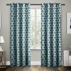 """Amazon.com: Exclusive Home Neptune Grommet Top Window Curtain Panel 54"""" X 96"""", Teal, Set of 2 / Pair: Kitchen & Dining"""