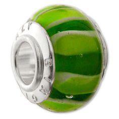 Glass charm bead with silver single core - Silver Carlo Biagi bead - Be Charmed Jewellery £9.50