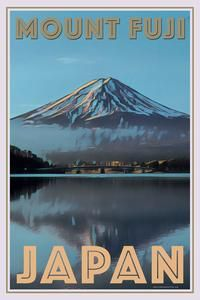 Vintage poster of Mount Fuji Japan - Buy a poster online - all the world's most amazing places - retro poster - custom poster - free worldwide shipping - affiche vintage - affiche retro Vintage Travel Posters, Vintage Ski, Florida Travel, Beach Travel, Mexico Travel, Spain Travel, Poster City, City Aesthetic, Mount Fuji