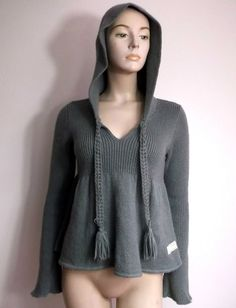 ODD MOLLY 829 Ladies Jumper Hooded Knitted Mohair Size 1 S - M Grey Pullover Thin Waist, Odd Molly, Jumpers For Women, Wool Blend, Hoods, Folk, Pullover, Grey