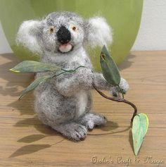 Koala feeding. Needle felted. OOAK. Australian made - by oiolin on madeit