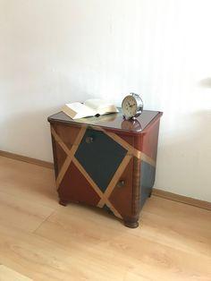 Nachttisch Karo Kommode Vintage Schränkchen Nachttisch Tisch Design Shabby Look, Magazine Rack, Cabinet, Storage, Etsy, Furniture, Design, Home Decor, Vintage Dressers