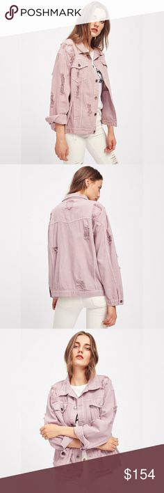 Distressed Oversized Blush Denim Boyfriend Jacket Distressed, faded, destroyed look, oversized boyfriend fit, button front, long sleeves, two front chest flap pockets and two front side pockets. Available in blue, blush, and grey. Sizes XS, S, M, L, XL/1X ❌ Sorry, no trades. fairlygirly fairlygirly Jackets & Coats Jean Jackets