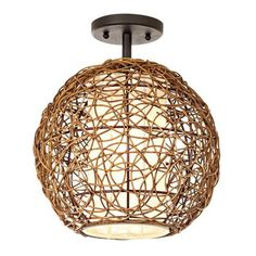 Organic Contemporary Rattan Ceiling Fixture $100, outside lower stairs
