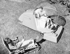 The Power Mower of the Future, 1957.  Preserve your memories at http://www.saveeverystep.com #nostalgia