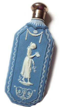 Antique Wedgwood perfume bottle, Staffordshire, England c. 1783. A Templetown/Hackwood contemplation of domestic life in white on blue jasperware.