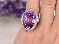 Big 19.17ctw Pear Cut Natural Amethyst and Diamond Engagement Ring 14K White Gold Halo Retro Vintage