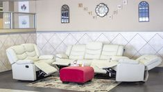 This gorgeous Three Piece Barcelona Recliner Lounge Suite would make your home complete. It comes as a 3 seater, 2 seater & 1 seater in Ivory Air Leather, which is so soft to the touch. With recliners on all seats except the middle seat of the 3 seater. Smooth transition from sitting to reclining.     Dimensions:  3 seater L:2100mm W:850mm H:1030mm  2 seater L:1500mm W:850mm H:1030mm  1 seater L:960mm W:850mm H:1030mm Lounge Suites, Recliners, Barcelona, Middle, Smooth, Things To Come, Ivory, Couch, Leather
