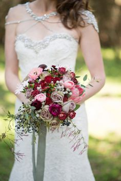 Red, pink, green and mauve bouquet | Christa Elyce Photography | see more on: http://burnettsboards.com/2014/09/americana-wedding-antlers/