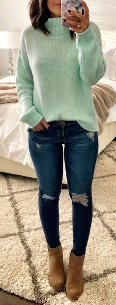 #winter #outfits  mint green turtleneck sweatshirt