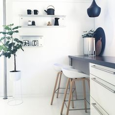 Some small changes in the kitchen ✨ Moved my little Vipp shelf  #whitehome…