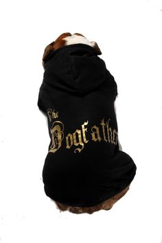 This will look really cool on any dog The Dogfather of all dogs! Available in black. SIZES SMALL - Puchi Petwear's popular dog hoodies are famous wit Dog Jumpers, Dog Hoodie, All Dogs, Drink Sleeves, Snug, Your Dog, Baby Shoes, Baseball Hats, Hoodies