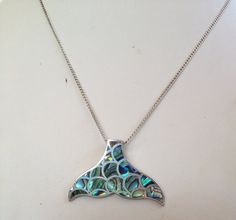 Sterling Silver Paua Shell Whale Tail Pendant by 18sweetpea, $65.00