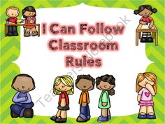 I Can Follow the Classroom Rules from Fun in ECSE on TeachersNotebook.com - (44 pages) - Classroom rules, posters, pocket chart sorting activity and emergent reader.