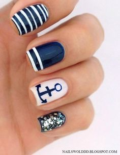 Blue Nautical Nails via #nailswolddd #nailart #blue #white #stripes