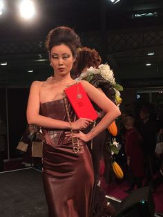 Our amazing model in her chocolate dress in the fashion show #rchocolateldn