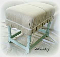 Footstool Makeover using Drop Cloth by DIY Beautify ~ shared on DIY Showcase on Handmade Furniture, Upcycled Furniture, Furniture Making, Painted Furniture, Diy Furniture, Diy Footstool, Country Cottage Interiors, Take A Seat, Furniture Inspiration