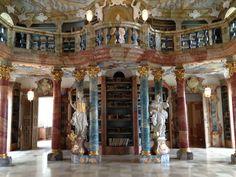 #rococo Abbey Weltenburg - library in bavaria, germany - 18th century Rococo