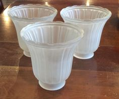 Set of 3 Frosted Ribbed Glass Globes for Ceiling Fan Style Replacement