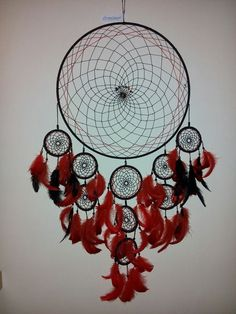 Red and black dreamcatcher with charas stones and tiger eye, by special order :-) handcrafted by instagram/asiczary