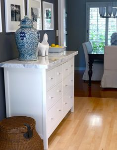 IKEA cabinet, marble top.