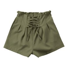 Ruffle Lace-up Shorts (96 PEN) ❤ liked on Polyvore featuring shorts, zaful, army green shorts, laced shorts, flounce shorts, olive shorts and ruffle trim shorts