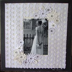 The Dress ~ matt a bridal portrait with monochromatic butterfly and daisy punches for a stylishly texturized look. Wedding Scrapbook Pages, Bridal Shower Scrapbook, Diy Scrapbook, Scrapbook Albums, Wedding Album, Wedding Book, Wedding Cards, Wedding Dress, Scrapbook Sketches