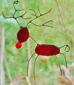 'WACKY RED REINDEER' Stained Glass Abstract with HAND CRAFTED WIRE WORK SUNCATCHER ...CHRISTMAS GIFT....$39