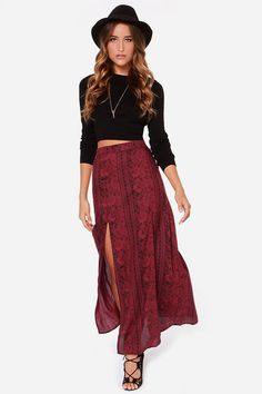 double slit maxi skirt with hat