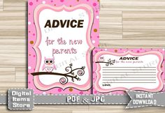 Advice For Mommy To Be - Advice For Parents To Be - Advice Cards - Advice Sign - Baby Shower Advice - Owl Sign, Pink - INSTANT DOWNLOAD by DigitalitemsShop on Etsy