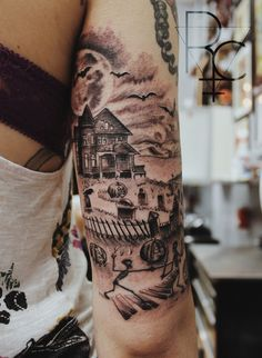 Beautiful landscape of a Halloween tattoo design. The haunted house is surrounded by a cemetery and bats under a full moon in the sky.