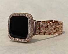 Iced Out Apple Watch Band Rose Gold Bling Apple Watch Bezel Lab Diamond Series Custom Deluxe Iwatch Strategies, Apple Watch Bands Fashion, Rose Gold Apple Watch, Silver Apples, Apple Watch Accessories, Lab Diamonds, Crystal Rhinestone, Bling, Apple Band, Stainless Steel