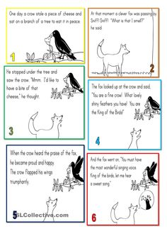 the fox and the crow - English ESL Worksheets for distance learning and physical classrooms English Moral Stories, Moral Stories In Hindi, English Stories For Kids, Moral Stories For Kids, English Worksheets For Kids, Short Stories For Kids, English Story, Reading Stories, English Class