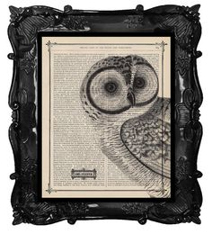 Antique Owl Art Print Owl Dictionary Print ♥♥ Our favorite Owl in his famous pose which is our Original Design and Concept!♥ In our signature