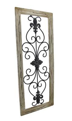 Distressed Wooden Tan Frame Wrought Iron Fleur de Lis Wall Decor 30 X 12 In.