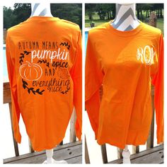 Monogrammed Pumpkin Spice Long Sleeve Shirt. by ElleQDesigns