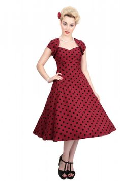 Regina Doll Polka Flock Print Dress 0