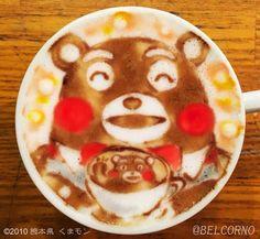 """【熊本地震】 ベルコルノ@ラテアートさんのツイート: """"ラテアート【バリスタくまモン】 気持ちだけでも、あたたかいコーヒーを。。。。"""