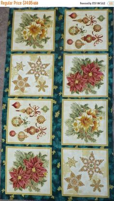 EASTER SALE Cotton Fabric, Home Decor,Craft Fabric, Christmas Panel, Holiday Flourish 7,Robert Kaufman, Christmas Symbols, Fast Shipping