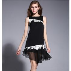 High-end 2015 Women Dress Silk Black Brief Style Retro Vintage Dresses Sleeveless Tassel A-Line Dress